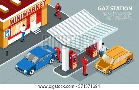 Gas Station Horizontal Background  With Fuelling Stands Under The Visor And Mini Market Isometric Ve