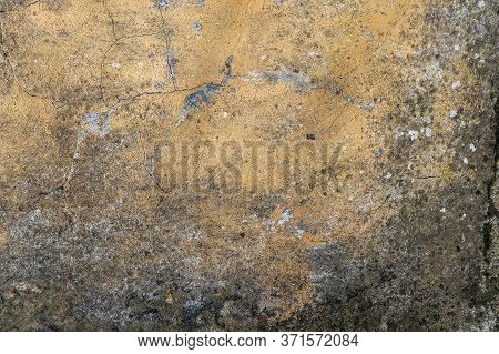 Old Concrete Corrosion Wall With Mold And Fungus. Cracks And Peeling. Antique Brown Abstract Backgro