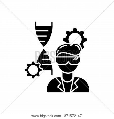 Biomedical Engineer Black Glyph Icon. Biotechnology Field Specialist. Professional To Work In Medica