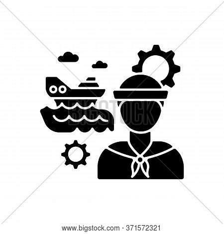 Marine Engineer Black Glyph Icon. Nautical Production. Professional Sailor For Steering System Maint