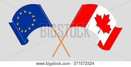 Crossed And Waving Flags Of Canada And The Eu. Vector Illustration