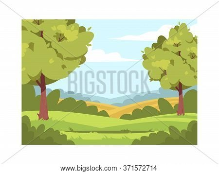 Wheat Plantation Semi Flat Vector Illustration. Summer Woods With Clearing. Farmland With Greenery A