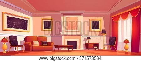 Old Luxury Living Room Interior With Sofa, Armchairs And Marble Fireplace. Vector Cartoon Illustrati