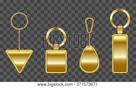 Golden Keychain, Holder Trinket For Key With Metal Chain And Ring. Vector Realistic Template Of Gold