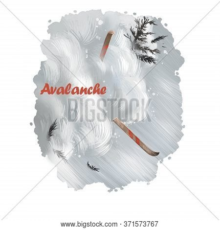 Avalanche Digital Art Illustration Of Natural Disaster. Skier Suffer From Dangerous Fall In Snow, Fr