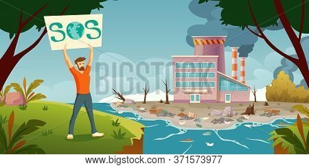Eco Activist Protests Against Air And Ocean Pollution, Deforestation. Vector Cartoon Illustration Wi