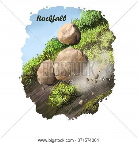 Rockfall Digital Art Illustration Of Natural Disaster. Falling Down Stones From Mountain, Blockage O