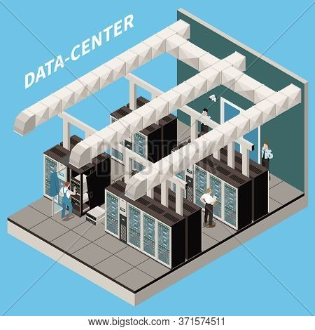 Datacenter Isometric And Colored Icon Set Room With Servers And Working Engineers Vector Illustratio