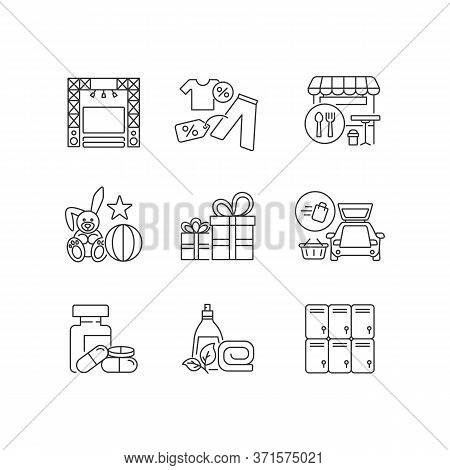 Shopping Mall Products Pixel Perfect Linear Icons Set. Outlet Store. Gift Shop. Entertainment Center