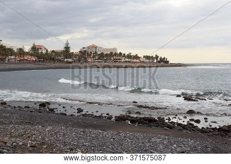 Beach And Atlantic Ocean Panorama In Holiday Resort Playa De Las Americas On Canary Island Tenerife,
