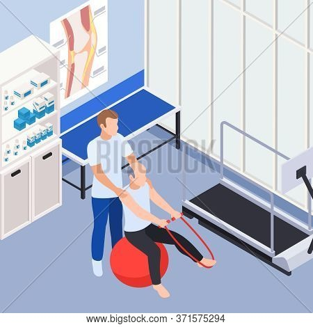 Rehabilitation Clinic Doctor Office Interior Isometric Composition With Physiotherapist Assisting St