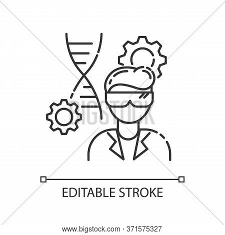 Biomedical Engineer Pixel Perfect Linear Icon. Biotechnology Field Specialist. Microbiology Work. Th