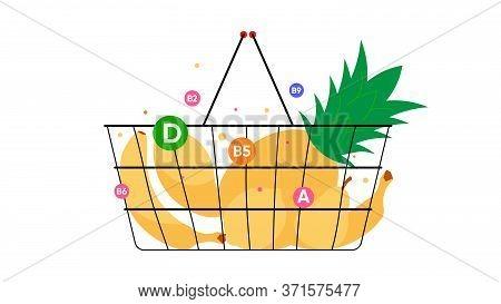 Food Basket With Yellow Tropical Fruits. Pineapple, Banana, Pear, Mango. Natural Foods, Vitamins, Nu