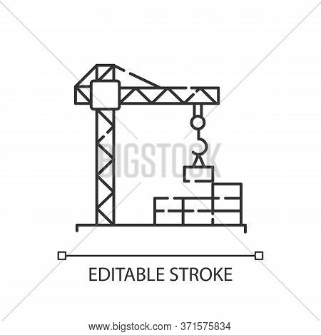 Construction Site Pixel Perfect Linear Icon. Crane For Building And Lifting Concrete. Thin Line Cust