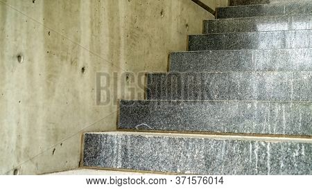Panorama Close Up Of Concrete Treads Of A Staircase Inside A Commercial Building