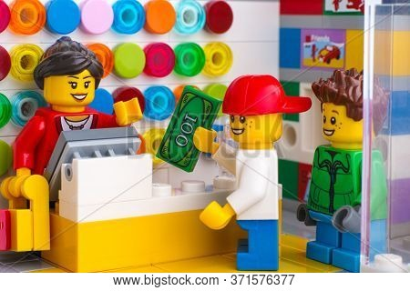 Tambov, Russian Federation - June 06, 2020 Two Children Buying Lego At A Lego Store.