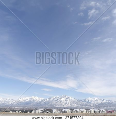 Square Panoramic View Of South Jordan City Neighborhood And Wasatch Mountains In Winter