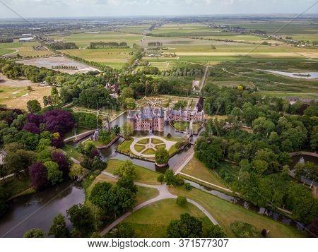 Public Garden At Old Historical Castle De Haar Netherlands Utrecht On A Bright Summer Day, Aerial Fr