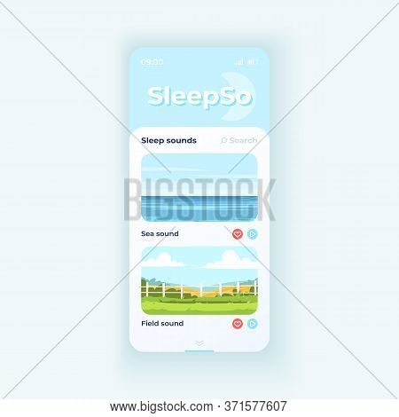 Sleep Sounds Playlist App Smartphone Interface Vector Template. Mobile App Page Light Theme Design L