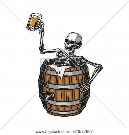 Vintage Brewing Colorful Concept With Drunk Skeleton Sitting In Beer Wooden Barrel And Holding Mug F