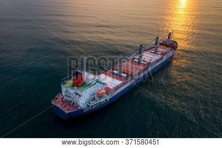 Water Transport International. Aerial View. Sunset Horizont!