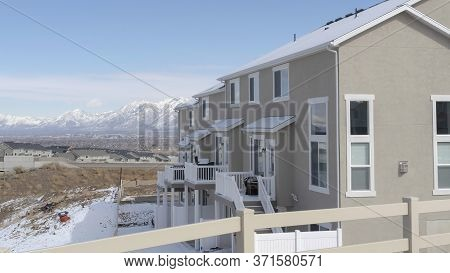 Panorama Frame Neighborhood Homes In South Jordan City Overlooking Valley And Wasatch Mountains