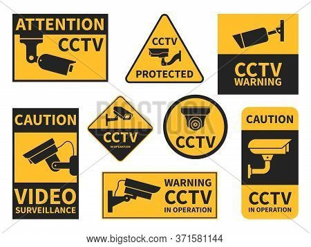 Cctv Stickers. Various Security Camera Equipment, Video Surveillance For Street, Home And Building,