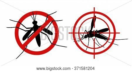 Mosquito Warning Signs. Informational Red Prohibited Mosquito Target, Control Insect, Prevent Epidem