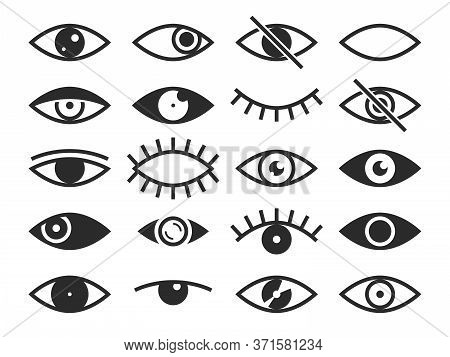 Eye. Vision And View Signs, Open And Closed Human Eyes, Lens Or Cry, Ophthalmologist Medicine Superv