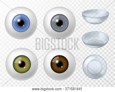 Contact Lens And Human Eye. Realistic Human Eyeball Different Color Iris Texture Front View, Ophthal