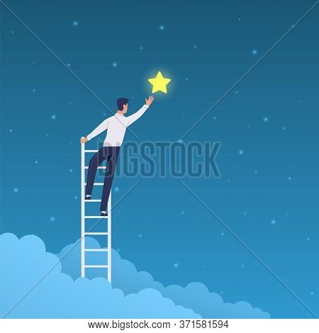 Businessman Success. Cartoon Man On Ladder Reaches Stars On Sky. Achieve Goal And Dream, Leadership,
