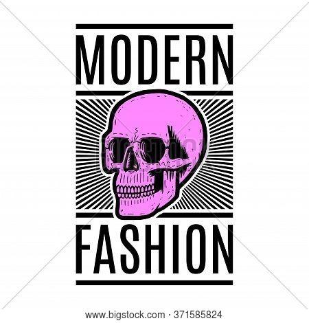 Retro Colorful Skull. Print For T-shirt. Bizarre Dead Head. Modern Fashion.
