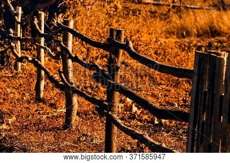Old Broken Wooden Fence In An Abandoned Village In Autumn. Nostalgia For Childhood In The Countrysid