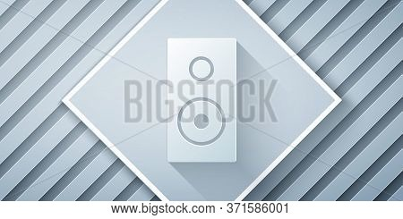 Paper Cut Stereo Speaker Icon Isolated On Grey Background. Sound System Speakers. Music Icon. Musica