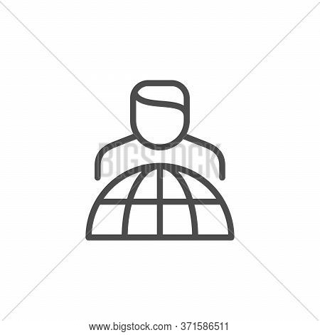 Management And Leadership Line Outline Icon Isolated On White. Person And Globe Sign. Leader Of Comp
