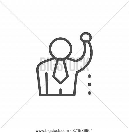 Leadership Line Outline Icon And Business People Isolated On White. Person In Suit, Manager, Leader,