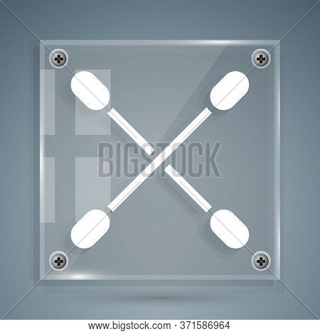 White Cotton Swab For Ears Icon Isolated On Grey Background. Square Glass Panels. Vector Illustratio