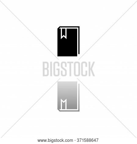 Book With Bookmark. Black Symbol On White Background. Simple Illustration. Flat Vector Icon. Mirror