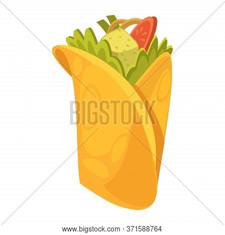 Burrito. Isolated On White Background. Vector Flat Color Icon. For Poster And Menu Fastfood.
