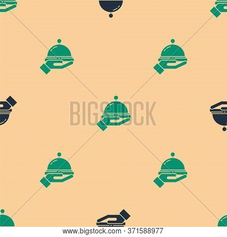 Green And Black Covered With A Tray Of Food Icon Isolated Seamless Pattern On Beige Background. Tray