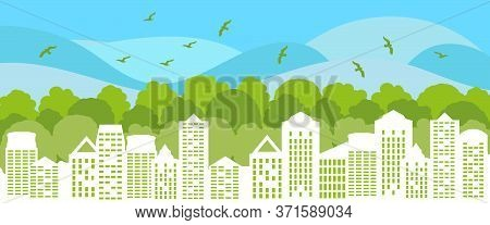 Green City Concept. Ecological City With Green Trees And Birds. Environment Conservation. Vector Ill