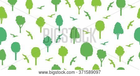 Seamless Pattern From Silhouettes Of Green Trees And Birds. Ecological Concept And Environment Conse