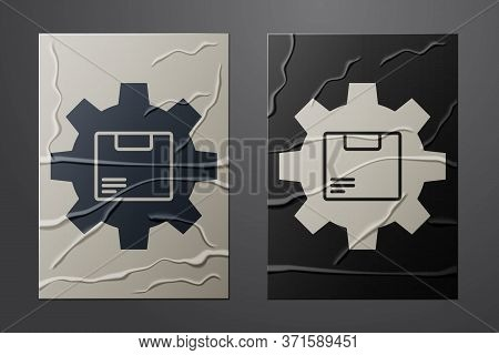 White Gear Wheel With Package Box Icon Isolated On Crumpled Paper Background. Box, Package, Parcel S