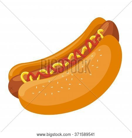 Hotdog. Isolated On White Background. Vector Flat Color Icon. For Poster And Menu Fastfood.