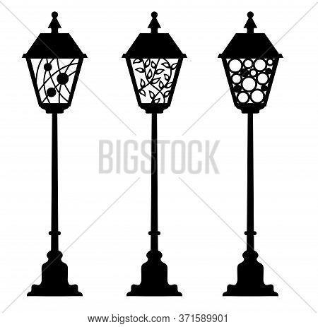 Laser Cut Street Lanterns. Flashlight Cutting Template. Candlestick Stencil. Vector Silhouette For N