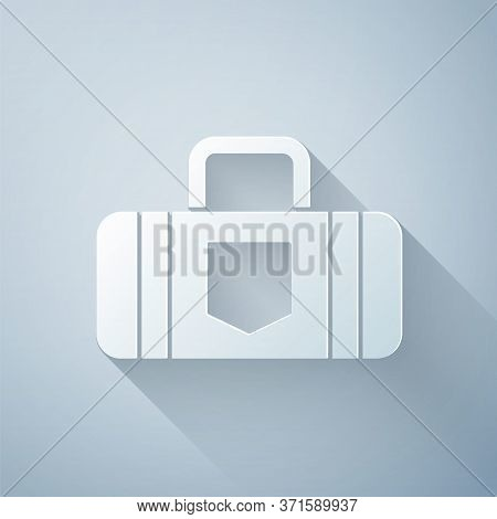 Paper Cut Suitcase For Travel Icon Isolated On Grey Background. Traveling Baggage Sign. Travel Lugga