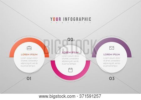 Minimal Business Infographics Template With 3 Steps, Options And Marketing Icons. Vector Infographic