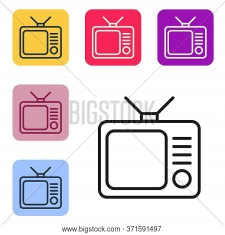Black Line Retro Tv Icon Isolated On White Background. Television Sign. Set Icons In Color Square Bu