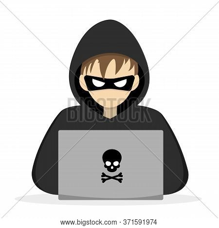 Hacker With Laptop Computer Try To Steal Passwords And Confidential Data.