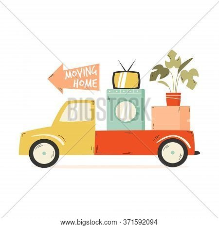 Truck Carrying Cardboard Box, Washing Machine, Tv, Flowerpot. Relocation, Moving Concept.